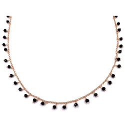 Rose Gold Plated 925 Sterling Silver Necklace with Black Zircons