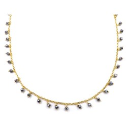 Gold Plated 925 Sterling Silver Necklace with Hematite Stones