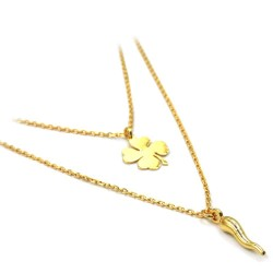 Double Chain Necklace with Four Leaf Clover and Lucky Horn Pendants