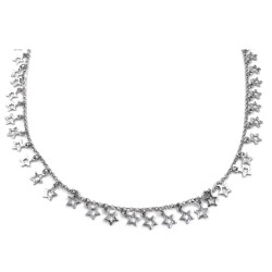 Solid Silver Necklace with Pierced Star Pendants