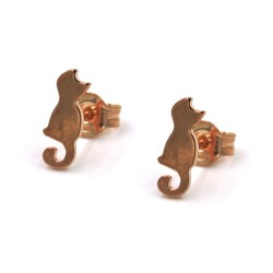 Pink Gold Plated 925 Sterling Silver Cat Earrings