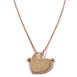 Heart Pendant Pink Gold Plated 925 Sterling Silver Necklace