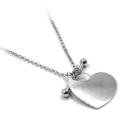 Heart Medal 925 Sterling Silver Necklace