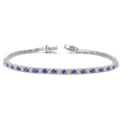 925 Sterling Silver Tennis Bracelet with White and Blue Zircons