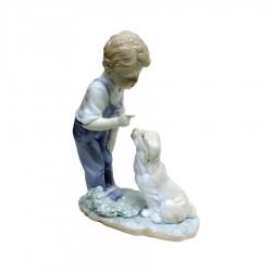 Scultura Bambino con Cane in Fine Porcellana Lucida e Biscuit by Siro Time