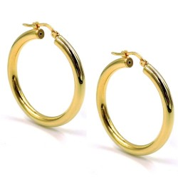 Gold Plated 925 Sterling Silver Thick Hoop Earrings Diameter 1,37''