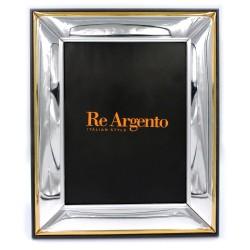 Cornice Portafoto Lucida con Bordo Oro cm 18x24 in Argento