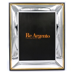 Silver Picture Frame Glossy with Golden Edge cm 18 x 24
