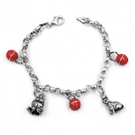 Bracciale in argento 925 con ciondoli gatti e sonagli rossi