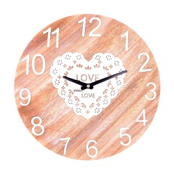 Wooden Wall Clock Love Hearts