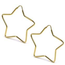 Gold Plated 925 Sterling Silver Star Shaped Hoop Earrings