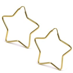 Gold Plated 925 Sterling Silver Star Shaped Hoop Earrings