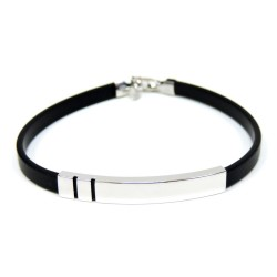 Sterling Silver and Rubber Bracelet Two Lines Strap