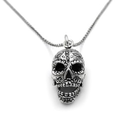 925 Sterling Silver Calavera Pendant Necklace
