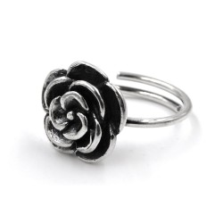 Camellia Solid Silver Ring