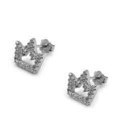 925 Sterling Silver Crown Earrings with White Zircons