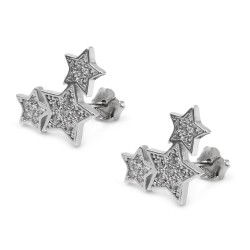 Three Stars Earrings 925 Sterling Silver with White Zircons