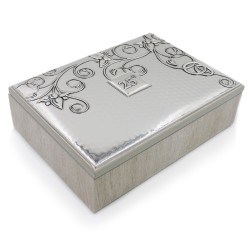 25th Anniversary Wooden Jewelry Box with Siver Foil Cover