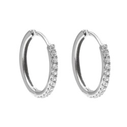 Sterling Silver Hoop Earrings with White Zircons