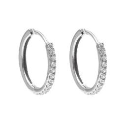 Sterling Silver Hoop Earrings with White Zircons