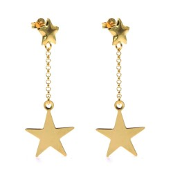 Gold Plated Sterling Silver Star Pendant Earrings