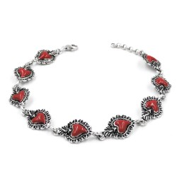 Enamelled Solid Silver Holy Heart Bracelet