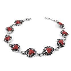 Enamelled Solid Silver Holy Heart Bracelet