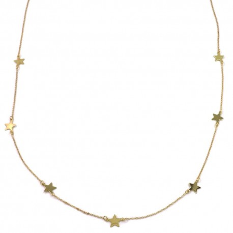 Gold Plated Sterling Silver Stars Long Necklace