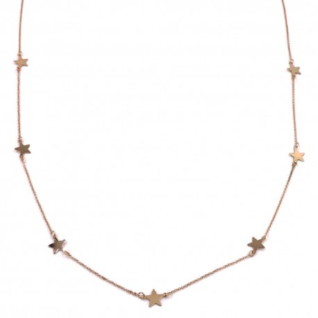 Pink Gold Plated Sterling Silver Stars Long Necklace