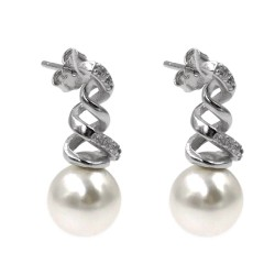 Sterling Silver Vortex Earrings with Pearls and Zircons