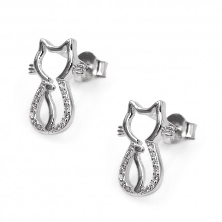 Cat Earrings Sterling Silver and White Zircons