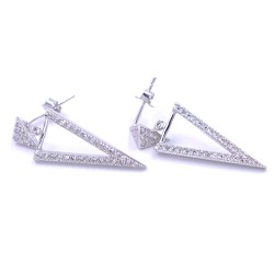 925 Sterling Silver Pyramids Earrings with White Zircons