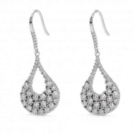 Drop Earrings Sterling Silver and White Zircons