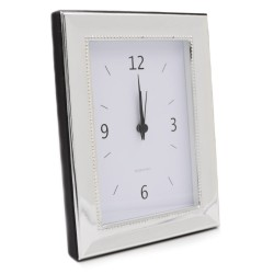 Silver Table Clock with Alarm model Satin Calle