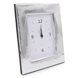 Glossy Hammered Silver Alarm Clock
