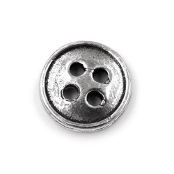 Solid Silver Round Button