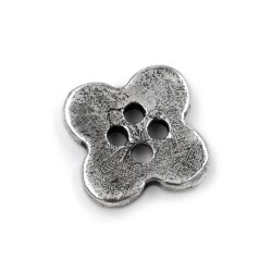 Solid Silver Flower Button