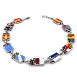 Enamelled Solid Silver Sicily Region Bracelet