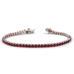 Sterling Silver Tennis Bracelet with Red Zircons