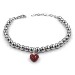 Red Heart 925 Sterling Silver Beaded Bracelet