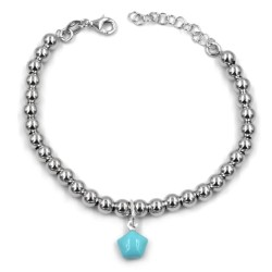 Turquoise Star 925 Sterling Silver Beaded Bracelet