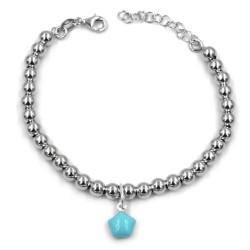 Turquoise Star 925 Sterling Silver Beaded Bracelet