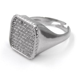 Sterling Silver Square Chevalier Ring with White Zirconia