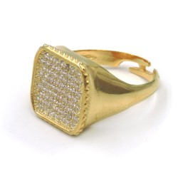 Gold Plated Sterling Silver Square Ring with White Zirconia