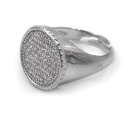 Sterling Silver Round Chevalier Ring with White Zirconia