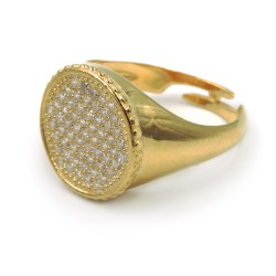 Gold Plated Sterling Silver Round Ring with White Zirconia