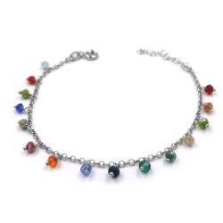 925 Sterling Silver Bracelet with Multicolored Zircons