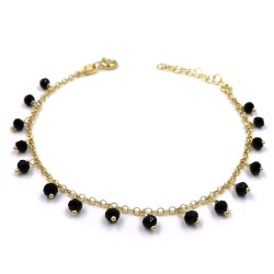 Gold Plated Sterling Silver Bracelet with Black Zircons