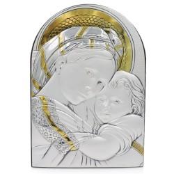 Madonna della Seggiola Quadro in Argento Massiccio 925 con Oro cm 18 x 25