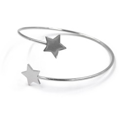 Sterling Silver Round Bangle Bracelet with Stars